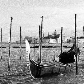 Venice. Gondola. Black and white. by Gerlya Sunshine