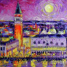 Mona Edulesco - VENICE NIGHT VIEW Modern textural Impressionist Stylized Cityscape
