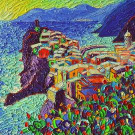 Vernazza Cinque Terre Italy 2 Modern Impressionist Palette Knife Oil Painting By Ana Maria Edulescu  by Ana Maria Edulescu