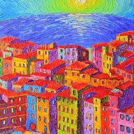Vernazza Colorful Houses Cinque Terre Italy Impressionist Knife Oil Painting By Ana Maria Edulescu  by Ana Maria Edulescu