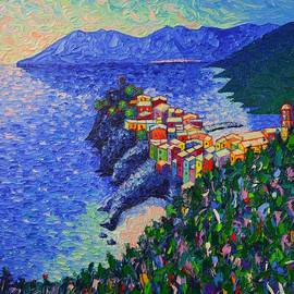 Vernazza Light Cinque Terre Italy Modern Impressionist Palette Knife Oil Painting Ana Maria Edulescu