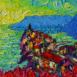 Vernazza Sunrise Cinque Terre Abstract Impressionist Palette Knife Oil Painting Ana Maria Edulescu