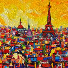 Vibrant Paris Abstract Cityscape Impasto Modern Impressionist Palette Knife Oil Ana Maria Edulescu by Ana Maria Edulescu