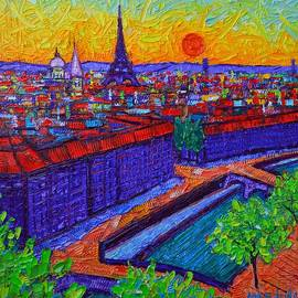 Ana Maria Edulescu - VIBRANT PARIS AT DUSK view from Notre Dame tower palette knife oil painting by Ana Maria Edulescu