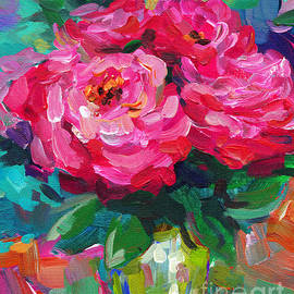 Vibrant Peony Flowers In A Vase Still Life Painting by Svetlana Novikova