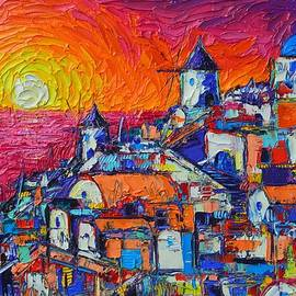 Ana Maria Edulescu - ABSTRACT SANTORINI OIA SUNSET cityscape impasto palette knife oil painting by Ana Maria Edulescu