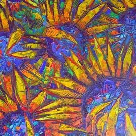 Ana Maria Edulescu - VIBRANT SUNFLOWERS floral art impressionism impasto palette knife oil painting by Ana Maria Edulescu
