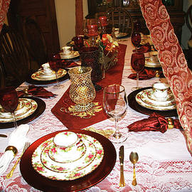 Victorian Dishware On Decorated Christmas Table by Amelia Painter