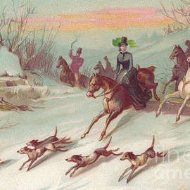 English School - Victorian greeting card of a hunting party on horses chasing a fox