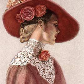 Victorian Lady in a Rose Hat by Sue Halstenberg