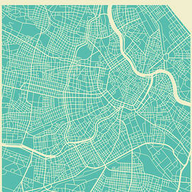 VIENNA STREET MAP - Jazzberry Blue