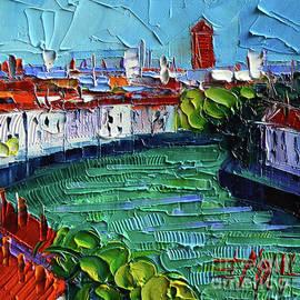 Mona Edulesco - VIEW OVER THE SAONE RIVER - modern impressionist stylized cityscape