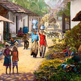 Village Scene In India by Dominique Amendola