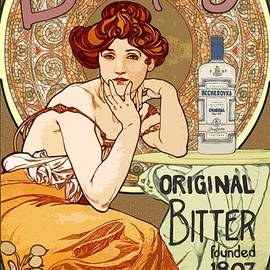 Vintage Art Nouveau Bechers Original Bitter 1807 by Joy of Life Art Gallery Alphonse Mucha