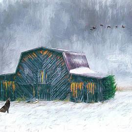 Vintage Barn in the Snow AP by Dan Carmichael