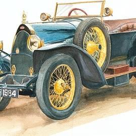 Vintage Blue Bugatti Classic Car by Joy of Life Art Gallery