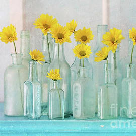 Vintage Bottles With Daisies by Sylvia Cook
