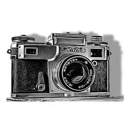 Vintage camera Kiev 4A in black and white