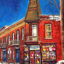 Vintage Corner Grocery Store Montreal Memories Depanneur Winter Scene Canadian Art Carole Spandau    by Carole Spandau
