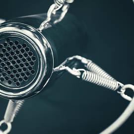 Anton Eine - Vintage old round studio voice microphone, black and white