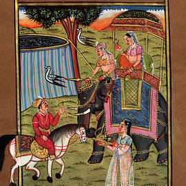 M B Sharma - Vintage Royal King Miniature Painting Online Old Postcard Indian Art Gallery 1