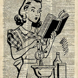 Vintage Stencil Of Cooking Girl over Old Dictionary Book Page by Anna W