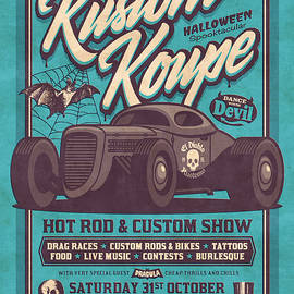 Vintage Style Fictional Halloween Hot Rod Show - Cyan - Ivan Krpan
