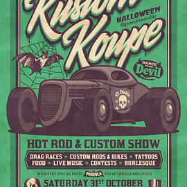 Vintage Style Fictional Halloween Hot Rod Show - Green - Ivan Krpan