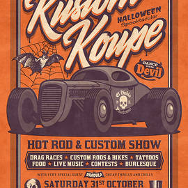 Vintage Style Fictional Halloween Hot Rod Show - Orange - Ivan Krpan