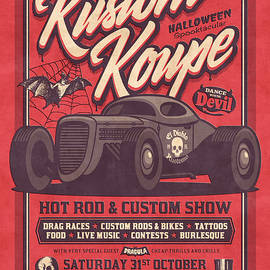 Vintage Style Fictional Halloween Hot Rod Show - Red - Ivan Krpan