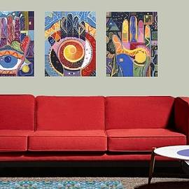 Virtual L R With 3 Paintings From The Spreading Goodwill - Blessings Series by Helena Tiainen