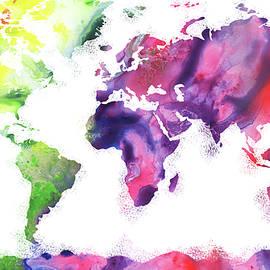 Vivid World Map Watercolor - Irina Sztukowski