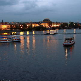 Sally Weigand - Vltava River Scene in Evening