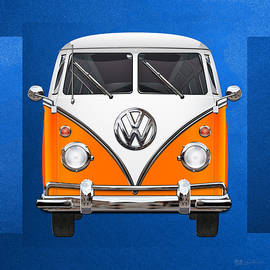 Volkswagen Type - Orange and White Volkswagen T 1 Samba Bus over Blue Canvas