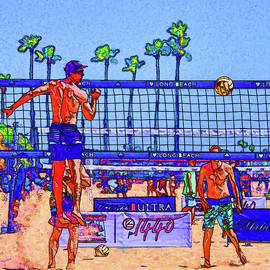 Linda Brody - Volleyball at Long Beach 1 Painterly