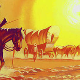Wagon trail in the blistering heat - Ron Embleton