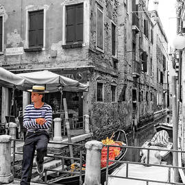 Waiting Gondolier in Venice by Carolyn Derstine