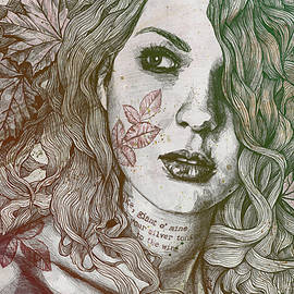 Marco Paludet - Wake - Autumn - street art woman with maple leaves tattoo