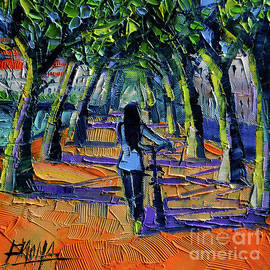 Mona Edulesco - WALK BENEATH THE PLANE TREES modern impressionist palette knife painting
