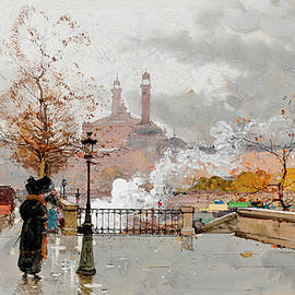 Eugene Galien-Laloue - Walkers and steamers on the Quai d