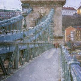 Joan Carroll - Walking Across the Chain Bridge in Budapest Hungary