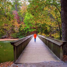 Amy Jackson - Walking the Noland Trail Bridge in Autumn