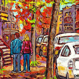 Walking Towards Downtown Montreal Autumn Staircase Painting Canadian City Scene Carole Spandau       by Carole Spandau