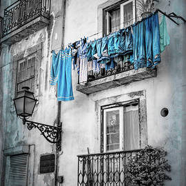 Washday Blues in Lisbon Portugal Black and White by Carol Japp