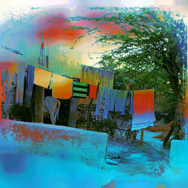 Sue Jacobi - Washing Line and Cows Indian Village Rajasthani 1a