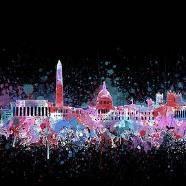 Bekim Art - washington dc skyline color splatter 3