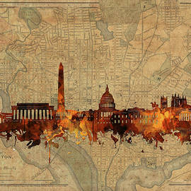 Bekim Art - washington dc skyline vintage