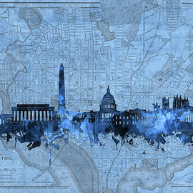 Bekim Art - washington dc skyline vintage blue