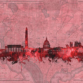 Bekim Art - washington dc skyline vintage red