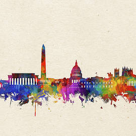 washington dc skyline watercolor 2 - Bekim Art